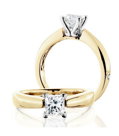Rings - 1 Carat Princess Cut Eternitymark Diamond Solitaire Ring 18Kt Yellow Gold