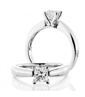 Rings - 1 Carat Princess Cut Diamond Solitaire Ring 18Kt White Gold