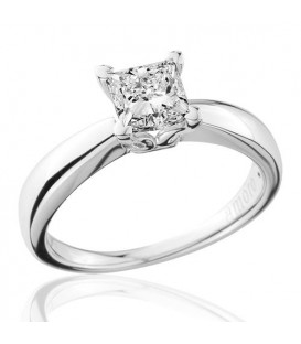 1 Carat Princess Cut Diamond Solitaire Ring 18Kt White Gold
