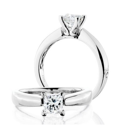 Rings - 1 Carat Princess Cut Eternitymark Diamond Solitaire Ring 18Kt White Gold