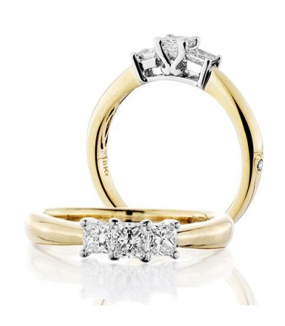 Rings - 0.50 Carat Princess Cut Three Stone Diamond Ring 18Kt Yellow Gold