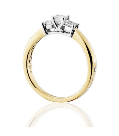 0.50 Carat Princess Cut Three Stone Diamond Ring 18Kt Yellow Gold