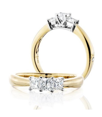Rings - 0.50 Carat Princess Cut Eternitymark Three Stone Diamond Ring 18Kt Yellow Gold