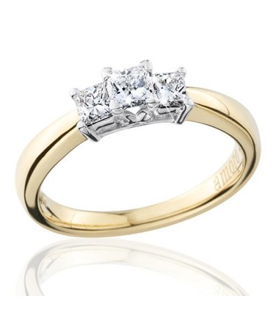 0.50 Carat Princess Cut Eternitymark Three Stone Diamond Ring 18Kt Yellow Gold