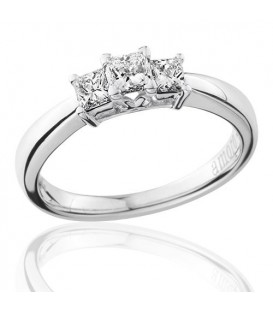 0.50 Carat Princess Cut Three Stone Diamond Ring 18Kt White Gold