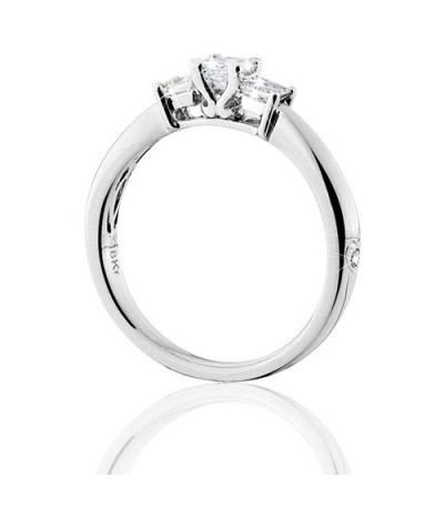 0.50 Carat Princess Cut Eternitymark Three Stone Diamond Ring 18Kt White Gold