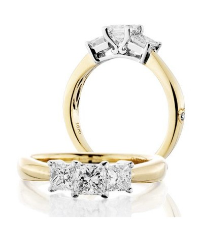 Rings - 1 Carat Princess Cut Three Stone Diamond Ring 18Kt Yellow Gold