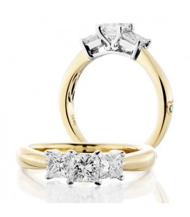 More about 1 Carat Princess Cut Three Stone Diamond Ring 18Kt Yellow Gold