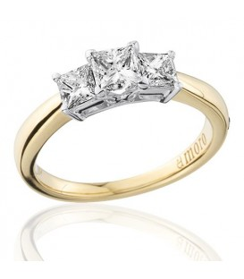 1 Carat Princess Cut Three Stone Diamond Ring 18Kt Yellow Gold