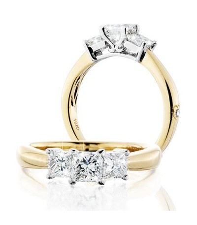 Rings - 1 Carat Princess Cut Eternitymark Three Stone Diamond Ring 18Kt Yellow Gold