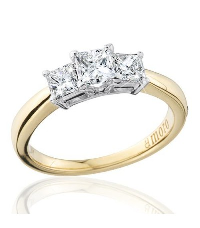 1 Carat Princess Cut Eternitymark Three Stone Diamond Ring 18Kt Yellow Gold