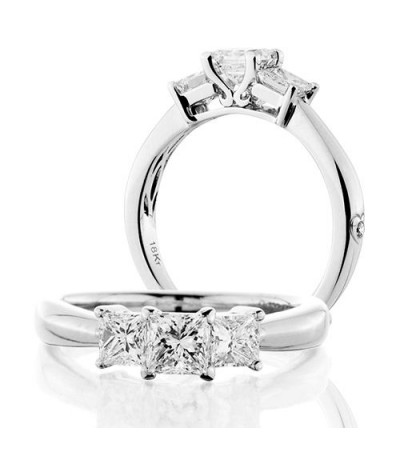 Rings - 1 Carat Princess Cut Three Stone Diamond Ring 18Kt White Gold
