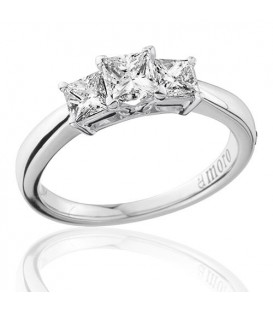 1 Carat Princess Cut Three Stone Diamond Ring 18Kt White Gold