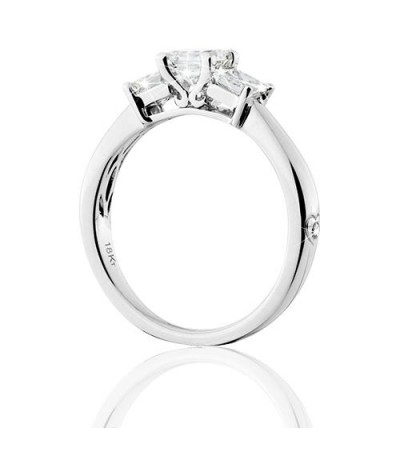 1 Carat Princess Cut Eternitymark Three Stone Diamond Ring 18Kt White Gold