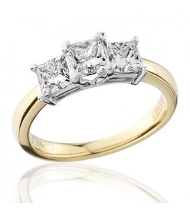 1.50 Carat Princess Cut Three Stone Diamond Ring 18Kt Yellow Gold