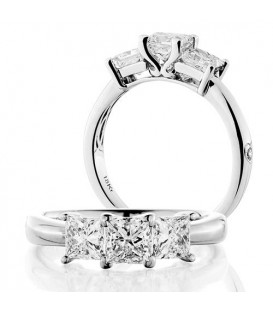 Rings - 1.50 Carat Princess Cut Three Stone Diamond Ring 18Kt White Gold