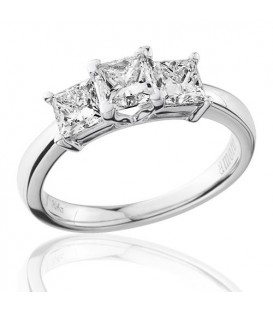 1.50 Carat Princess Cut Three Stone Diamond Ring 18Kt White Gold