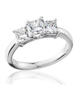 1.50 Carat Princess Cut Eternitymark Three Stone Diamond Ring 18Kt White Gold