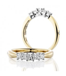 Rings - 0.50 Carat Princess Cut Five Stone Diamond Ring 18Kt Yellow Gold
