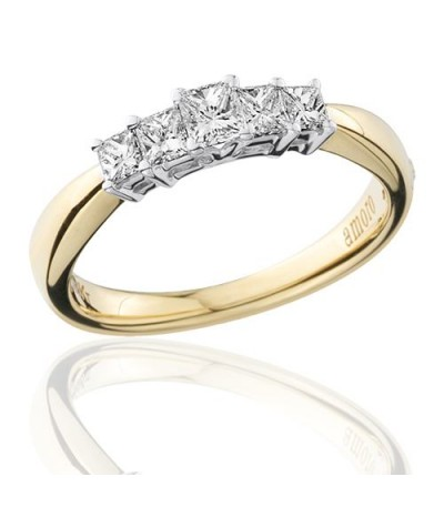 0.50 Carat Princess Cut Five Stone Diamond Ring 18Kt Yellow Gold