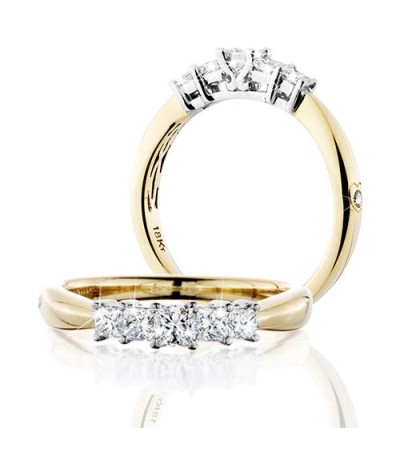 Rings - 0.50 Carat Princess Cut Eternitymark Five Stone Diamond Ring 18Kt Yellow Gold