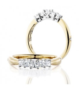 More about 0.50 Carat Princess Cut Eternitymark Five Stone Diamond Ring 18Kt Yellow Gold