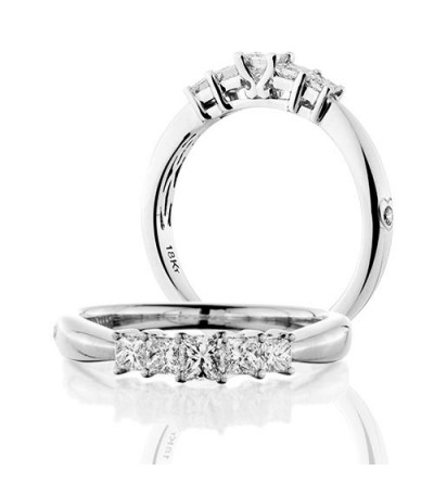 Rings - 0.50 Carat Princess Cut Five Stone Diamond Ring 18Kt White Gold