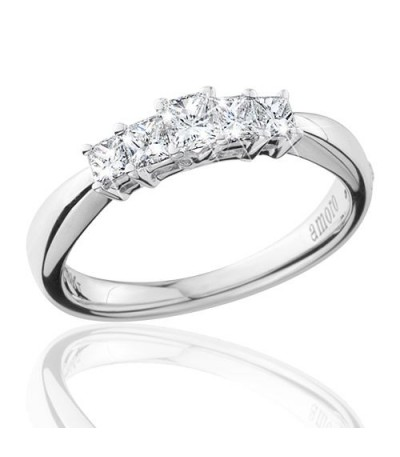 0.50 Carat Princess Cut Eternitymark Five Stone Diamond Ring 18Kt White Gold