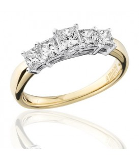 1 Carat Princess Cut Five Stone Diamond Ring 18Kt Yellow Gold