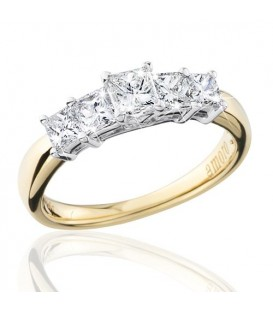 1 Carat Princess Cut Eternitymark Five Stone Diamond Ring 18Kt Yellow Gold