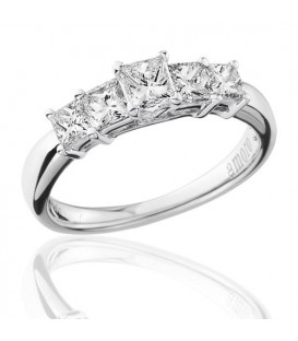 1 Carat Princess Cut Five Stone Diamond Ring 18Kt White Gold