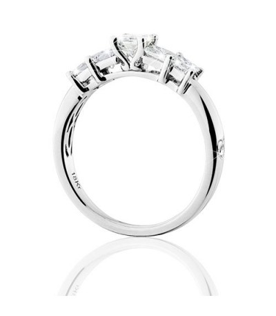 1 Carat Princess Cut Eternitymark Five Stone Diamond Ring 18 Karat White Gold