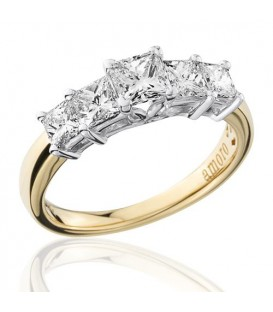 1.50 Carat Princess Cut Diamond Ring 18Kt Yellow Gold