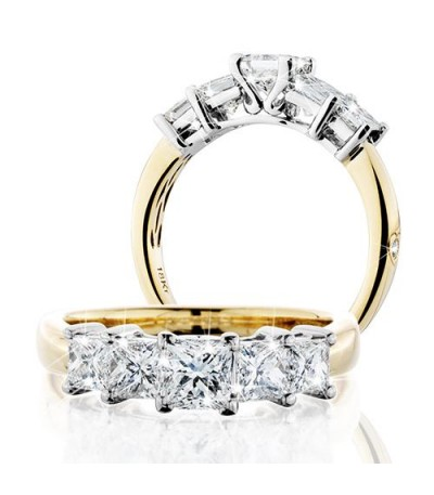 Rings - 1.50 Carat Princess Cut Eternitymark Five Stone Diamond Ring 18Kt Yellow Gold