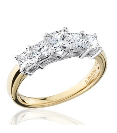 1.50 Carat Princess Cut Eternitymark Five Stone Diamond Ring 18Kt Yellow Gold