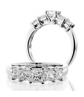 Rings - 1.50 Carat Princess Cut Five Stone Diamond Ring 18Kt White Gold