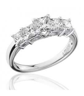 1.50 Carat Princess Cut Five Stone Diamond Ring 18Kt White Gold