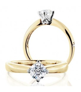 Rings - 0.50 Carat Round Brilliant Pristine Hearts Diamond Ring 18Kt Yellow Gold