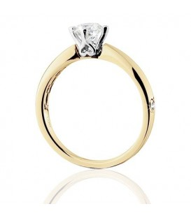 0.50 Carat Round Brilliant Pristine Hearts Diamond Ring 18Kt Yellow Gold