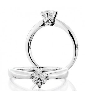 Rings - 0.50 Carat Round Brilliant Cut Diamond Solitaire Ring 18Kt White Gold