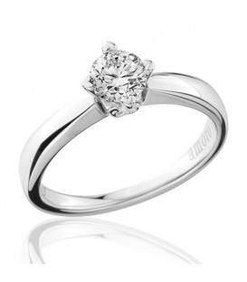 0.50 Carat Round Brilliant Cut Diamond Solitaire Ring 18Kt White Gold