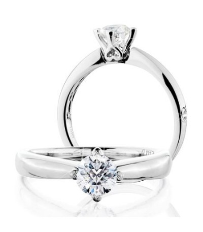 Rings - 0.50 Carat Round Brilliant Pristine Hearts Diamond Ring 18 Kt White Gold