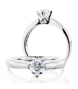 More about 0.50 Carat Round Brilliant Pristine Hearts Diamond Ring 18 Kt White Gold