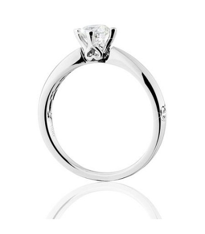 0.50 Carat Round Brilliant Pristine Hearts Diamond Ring 18 Kt White Gold