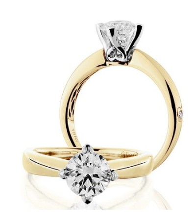 Rings - 1.25 Carat Round Brilliant Diamond Ring 18Kt Yellow Gold