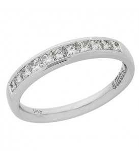 Rings - 0.50 Carat Princess Cut Diamond Anniversary Ring 18Kt White Gold