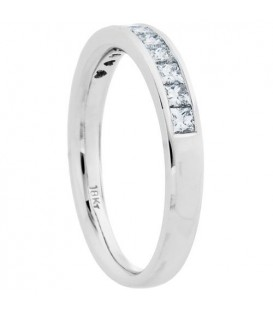 0.50 Carat Princess Cut Diamond Anniversary Ring 18Kt White Gold