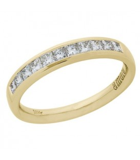 Rings - 0.50 Carat Princess Cut Diamond Anniversary Ring 18Kt Yellow Gold