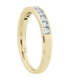 0.50 Carat Princess Cut Diamond Anniversary Ring 18Kt Yellow Gold