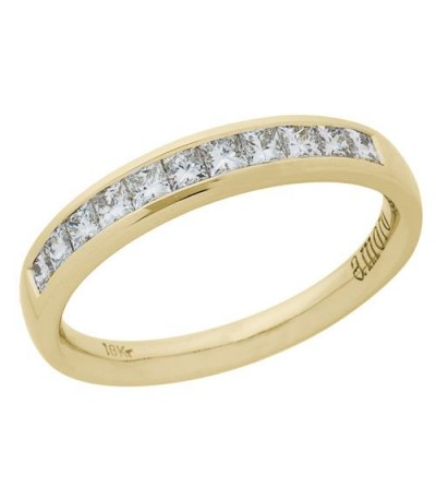 Rings - 1.01 Carat Princess Cut Diamond Ring 18Kt Yellow Gold